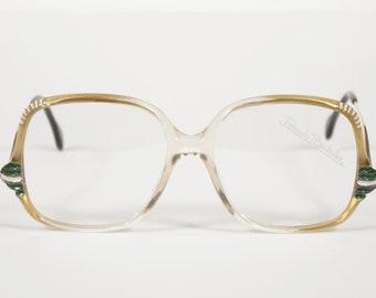 Renato Balestra NOS 1970s Vintage Gold Plastic Frames w/ Green Accents Eyeglasses Frames
