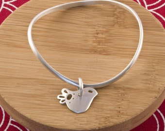 Sterling Silver Bangle With Petite Dove Bird