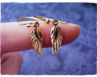 Gold Angel Wing Earrings - Bronze Angel Wing Dangle Earrings