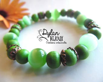 Green bracelet bronze - nickel free