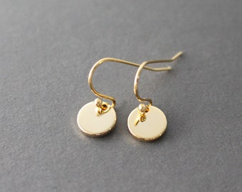 Gold Dot Earrings - little gold disc earrings - minimal