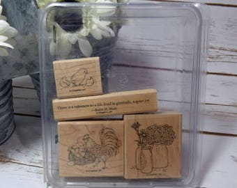 Country Morning Stamp Set, Stampin up Stamps, Rubber Stamps, Rooster Chick Stamp