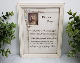 """Vintage Kitchen Prayer, Head of Christ by Warner Sallman, framed under glass. Creamy Off White, neutral """"Lord of all pots and pans"""" prayer."""