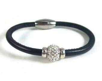 Black Leather Bangle, Womens Leather Bracelet, Leather Bangle Bracelet, Black Bangle, Leather Jewelry, Womens Bracelet, Black Leather