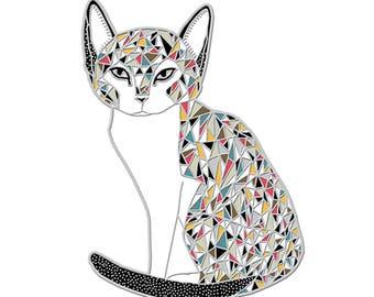 Calico Cat Enamel Pin, Calico Cat Jewelry, Calico Cat Brooch, Cat Brooch, Cat Pin