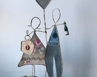 Anniversary Birthday Gift celebration champagne quirky primitive wire sculpture unusual figurines