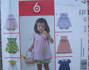 UNCUT Toddlers and Childrens Top, Dress, Panties and Handbag - Size 4, 5, 6 - McCalls Pattern M4757