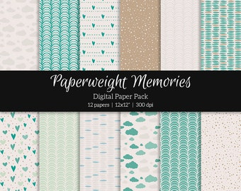 """Digital patterned paper - Day at the Beach -  digital scrapbooking - scrapbook paper - 12x12"""" 300dpi  - Commercial Use"""