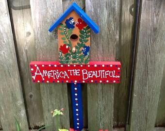 Patriotic birdhouse lawn ornament garden stake yard sign