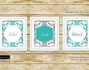 Damask Teal Grey Set of 3 Wall Decor Spa Bathroom Relax Soak Unwind Printable 3-8x10 Digital JPG Instant Download (48)