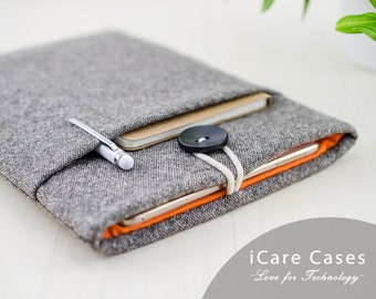 iPad Pro 10.5 Case iPad Pro iPad Case 9.7 iPad 12.9 iPad Pro Folio New iPad Pro 12.9 iPad Pro 10.5 Case With Pencil Brown Tweed Wool Orange