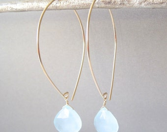 Aqua Chalcedony Open Hoop Gold Earrings