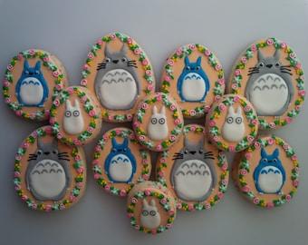 Totoro Floral Wreath Cookies - One Dozen Decorated My Neighbor Totoro / Hayao Miyazaki / Studio Ghibli Cookies