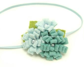 Aqua Felt Flower Headband, Newborn Baby Headband, Freshwater Pearls, Sea Blue Felt Headband for Baby, Mermaid Blue Anemone Flower