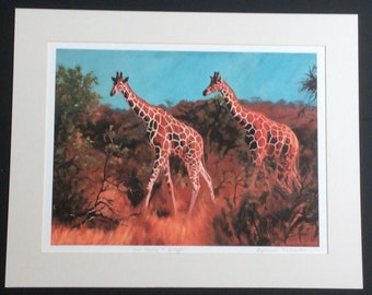 You're having a Giraffe/mounted & signed giraffe giclee print, giraffe art, wildlife art, wildlife print, jungle art, wildlife gift, modern