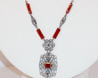 Vintage Art Nouveau Silver Carnelian Necklace, Jewelry