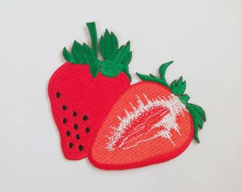 """Embroidered Red Strawberry Fruit Iron on Patch (3 1/4"""" x 2 3/4"""")"""