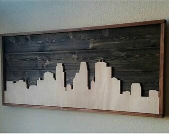 Wooden Minneapolis Skyline
