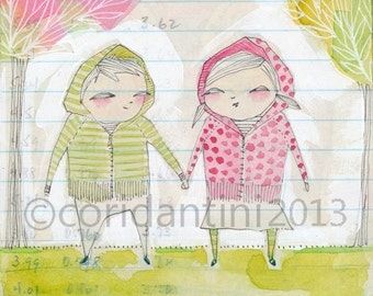 watercolor of a pair of twins - 5 x 7 inches - limited edition archival print by cori dantini