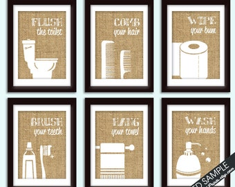 Funny Bathroom Prints - Set of 6 - Art Prints (Featured in Burlap) Customizable Bathroom Prints