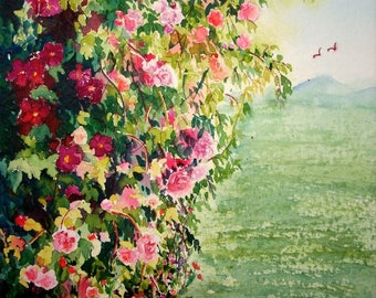 Clematis and Roses- Wall art