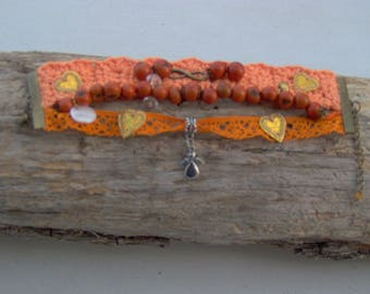 Orange BRACELET, infinity cuff 3 rows of color