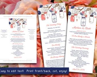 Mason Jars Wedding Program Template - Navy Coral Wedding Program - Rustic Ceremony Program Instant Download - DIY Wedding Template Printable