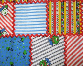 Patchwork Fabric by the Yard*Cheater Fabric*Vintage 1970's Fabric*Cotton Patchwork Fabric*Out of Print*Bulk Fabric*Rickrack*36 Wide*OOP