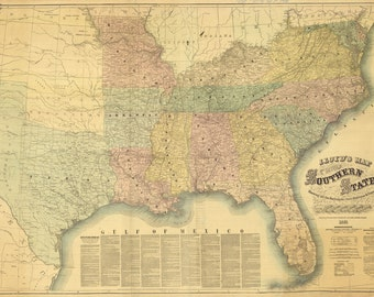1861 Lloyds Map of the Southern States Showing Railroads Counties Towns and Forts