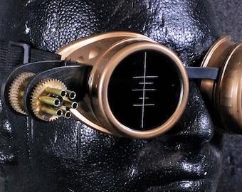 Steampunk goggles Brass with mini gun