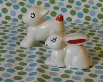 Vintage ceramic bunny and deer