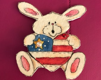 Patriotic Bunny Pin ooak Original design.