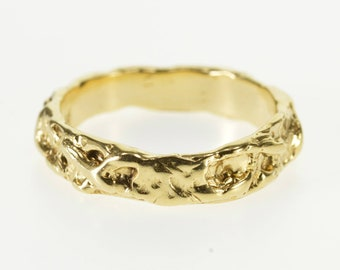 14k Abstract Texutred Nugget Patterned Band Ring Gold