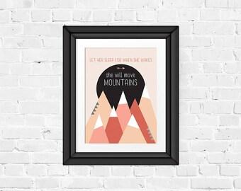 wall art, nursery decor, 8x10 digital print, girl, mountains, sleep, baby, newborn