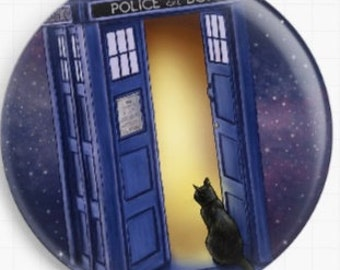 Cat Needle Minder,  Jenny Parks, Police Box, Cross Stitch Keeper, Fridge Magnet, Tardis Cat