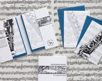Woodwinds - eight letterpress note cards
