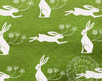 Instant Download, Digital Scrapbook Paper, Collage Sheet, Mixed Media, Junk Journal, JPG, Hares, Rabbits, Green