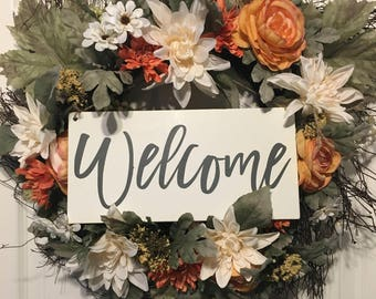 Welcome Sign   Welcome wreath sign   front door sign   hanging welcome sign  