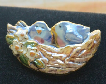 Blue Birds Brooch - Pottery, Painted, Two Blue Bird Chicks in Nest  - Vintage - Fabulous!