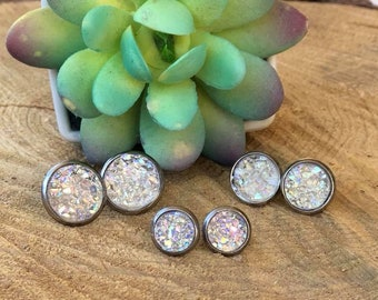 Clear Druzy Stainless Steel Earrings in 8mm, 10mm and 12mm