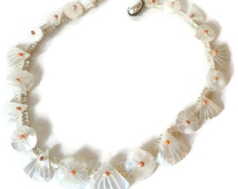 Early Frank Hess Miriam Haskell Mother Of Pearl Shell Coral Bead Choker Necklace On Silk Cord