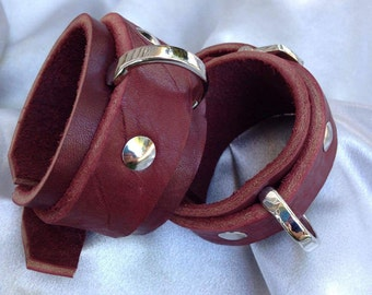Gorgeous burgundy wrist cuffs