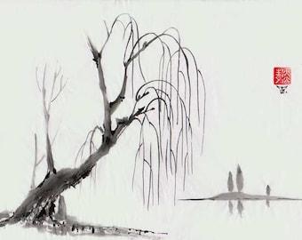 "Original Art ""Willow"" - Japanese sumi-e - asian painting - Wall decor - home decor - black and white - minimalist art - landscape"