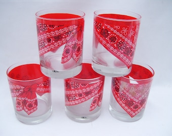 5 Red Bandana Tumblers Western Style Barware Drinking Glasses Cora Picnic Ware Red Rock Glasses