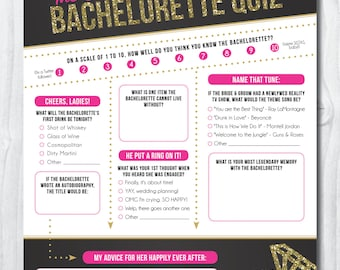 Bachelorette Party Quiz {INSTANT DOWNLOAD!} Printable Bachelorette Party Game: The Ultimate Bachelorette Quiz, Bachelorette Party Games
