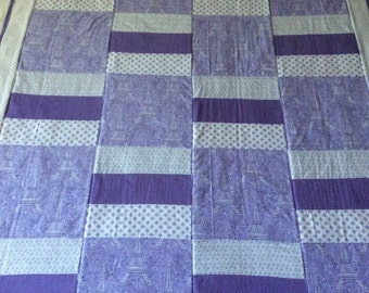 Paris quilt, Effiel tower, baby blanket, baby quilt, Michael Miller fabric, Eiffel tower quilt, purple quilt