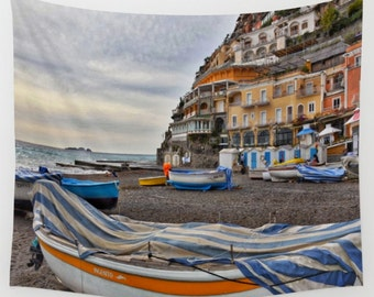 Positano Italy Wall Tapestry, Wall Tapestry, Living Room Wall Art, Dorm, Large Size Wall Art, Photo Tapestry Wall Decor, Travel Photography