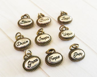 Assorted Charms Word Charms Word Pendants Inspirational Charms Assorted Metals Silver Bronze Heart Charms Oval Charms 9pcs