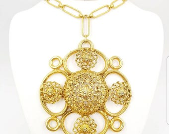 Vintage Etruscan Revival BIG Maltese Cross Medallion Statement Necklace, Chunky Gold Pendant Necklace, Runway Style, 1970's Necklaces