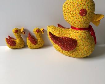 Vintge Calico Duck & Ducklings
